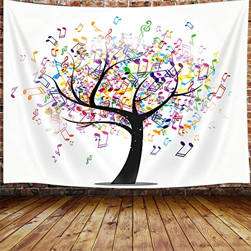 JAWO Music Life Tree Tapestry, Musical Note Tapestry Wall Hanging for Bedroom, Modern Colorful Tapestry Beach Blanket College Dorm Home Decor (71' W X 60' H)
