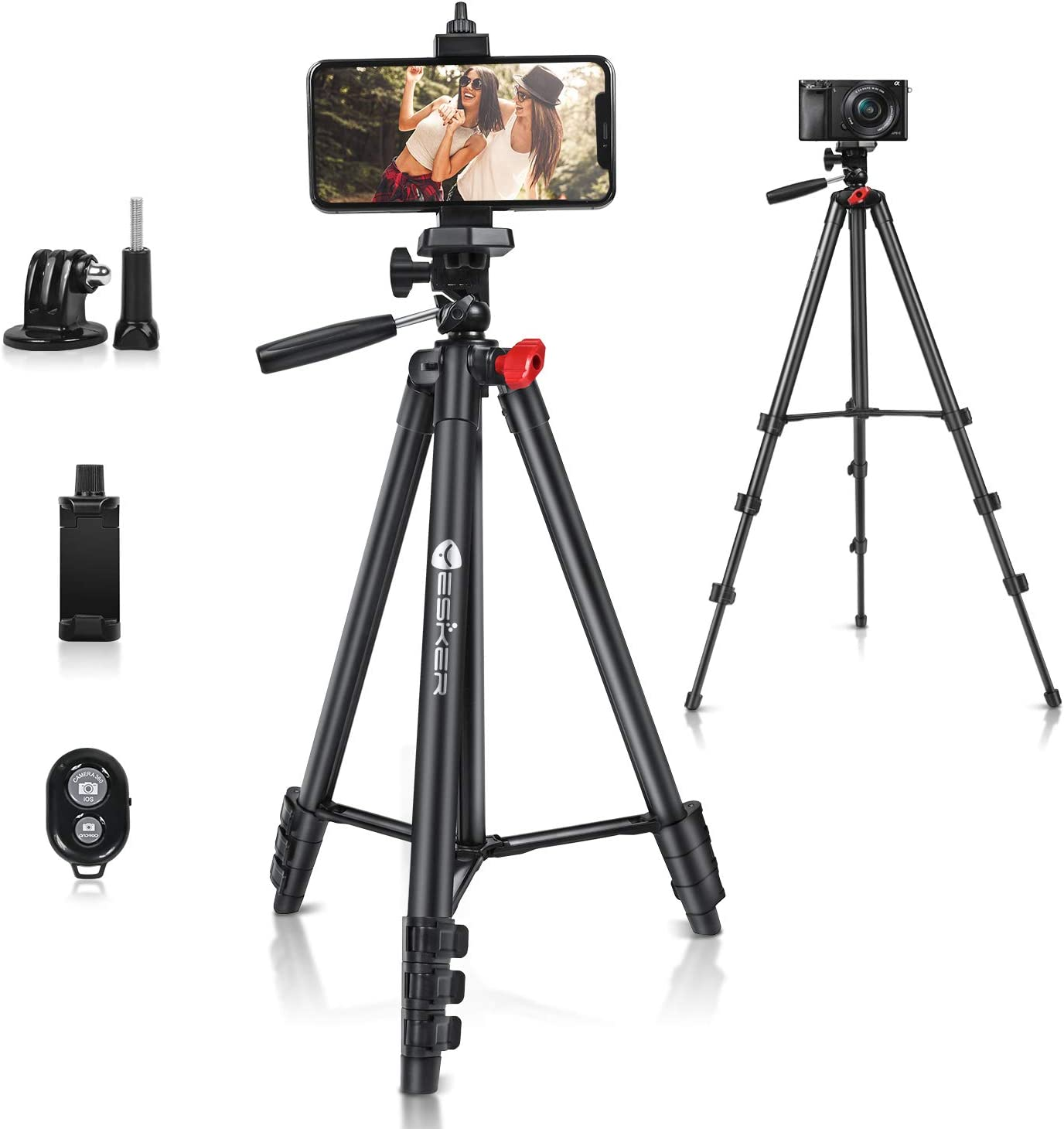 """Yesker Phone Tripod,52"""" Adjustable Premium Aluminum Alloy Tripod Stand with Cell Phone Mount Holder Smartphone Bluetooth Remote Shutter for Travel Zoom TikTok Video Photography Blogging Portrait : Camera & Photo"""