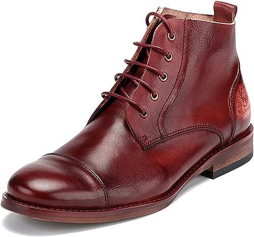 MERRYHE Cordón De Cuero Genuino Ups Botines De zapatos zapatos De Trabajo Vintage Martens De hombres Ocasionales para hombres