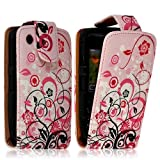 Seluxion-Funda tipo libro para Blackberry Curve 8520, diseño floral, color rosa
