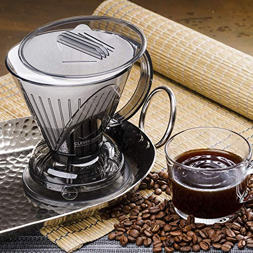 Clever Coffee Dripper and Filters, Large 18 oz (Cloud)| Barista's Choice| Safe BPA Free Plastic|Includes 100 Filters