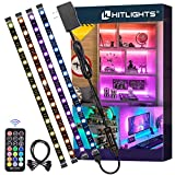 LED Strip Lights, HitLights 4 Pre-Cut 1ft/4ft Small LED Light Strips Dimmable, RGB 5050 Color Changing LED Tape Light with Remote and UL-Listed Adapter for TV Backlight, Bedroom, Cabinet Shelf Display