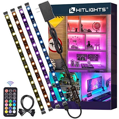 LED Strip Lights, HitLights 4 Pre-Cut 1ft/4ft Small LED Light Strips Dimmable, RGB 5050 Color...
