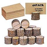 40 portatarjetas rústico de madera con soporte de madera para tarjetas de mesa, soporte...