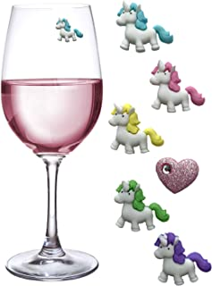 Unicorn Wine Charms Magnetic Glass Markers Set of 6 - Fun Gift for Unicorn Lovers by Simply Charmed