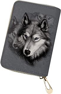 Showudesigns PU Leather Card Case Wallet Zipper Slim Women Credit Card Holder