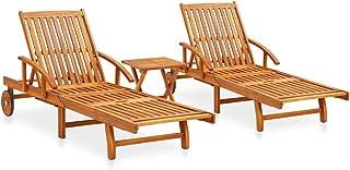 vidaXL Bois d'Acacia Massif Ensemble de 2 Chaises Longues avec Table Bain de Soleil de Patio Transat de Jardin Chaise Long...