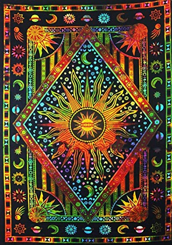 Hippie Mandala Sun and Moon Maditation Poster Tapestry Wall Hanging - Indian Golden Burning Sun Stars Psychedelic Popular Mystic Tie dye Beach Blanket 30 x 40 Inch