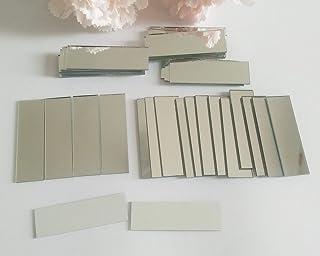 YongPan Espejos pequeños rectangulares de cristal de 1,5 x 5 cm, mosaico plateado, azulejos de mosaico de espejo real, azulejos de mosaico rectangulares, 60 piezas plata