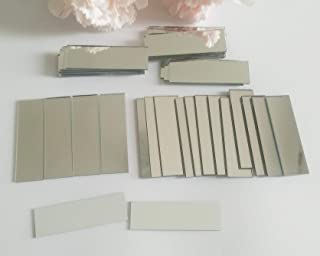 YongPan 5/8 x 2 Inch Glass Small Rectangle Craft Mirrors,Mosaic Silver Real Mirror Glass Tiles,Rectangle Mirror Mosaic Tiles 60PCS