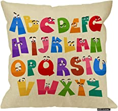HGOD DESIGNS Alphabet Pillow Cover,Cartoon Style English Alphabet Funny Eyes Cotton Linen Cushion Covers Home Decorative Throw Pillowcases 18x18inch