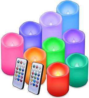 """شمع های بدون شعله Enido شمع های ضد آب در خارج از منزل شمع تغییر رنگ با بسته کنترل از راه دور 9 پلاستیکی (D3 """"x H4"""" 5 """"6"""") شمع های بدون شعله رنگ (باتری شامل نمی شود) شمع ستونی"""