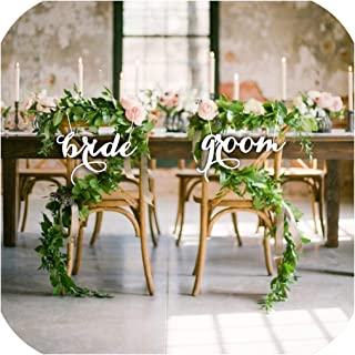 Bride and Groom Mr and Mrs Chair Sign for Wedding Rustic Wedding Party Decor Wedding Photo Props Wedding Gift Wood,Black,40CM