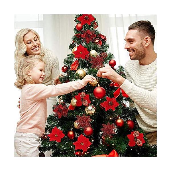 yyuezhi Flor de Pascua Adornos Florales de Navidad para Guirnaldas Poinsettia de Navidad Decoración Floral Flor de…