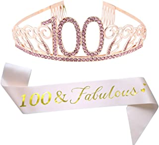 100th Brithday Pink Tiara and Sash, 100 & Fabulous Glitter Satin Sash and Crystal Rhinestone Birthday Crown for Happy 100th Birthday Party Supplies Favors Decorations 100th Birthday Cake Topper
