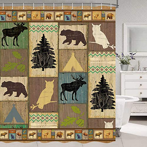 Rustic Cabin Shower Curtain, Cute Bear Deer Wildlife Bathroom Curtain, Country Style Rustic Bathroom Decor Vintage Farmhouse Shower Curtain for Bathroom, Lodge Shower Curtain Set with 12 Hooks, 70 in