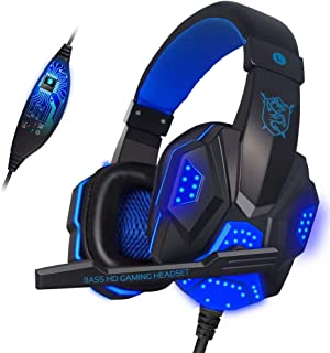 New Gaming and Music Headset, Pro Gaming Headset for PC, Laptop, Mobile with Mic, LED, Over-Ear Headphone, 3.5mm Wired Erg...
