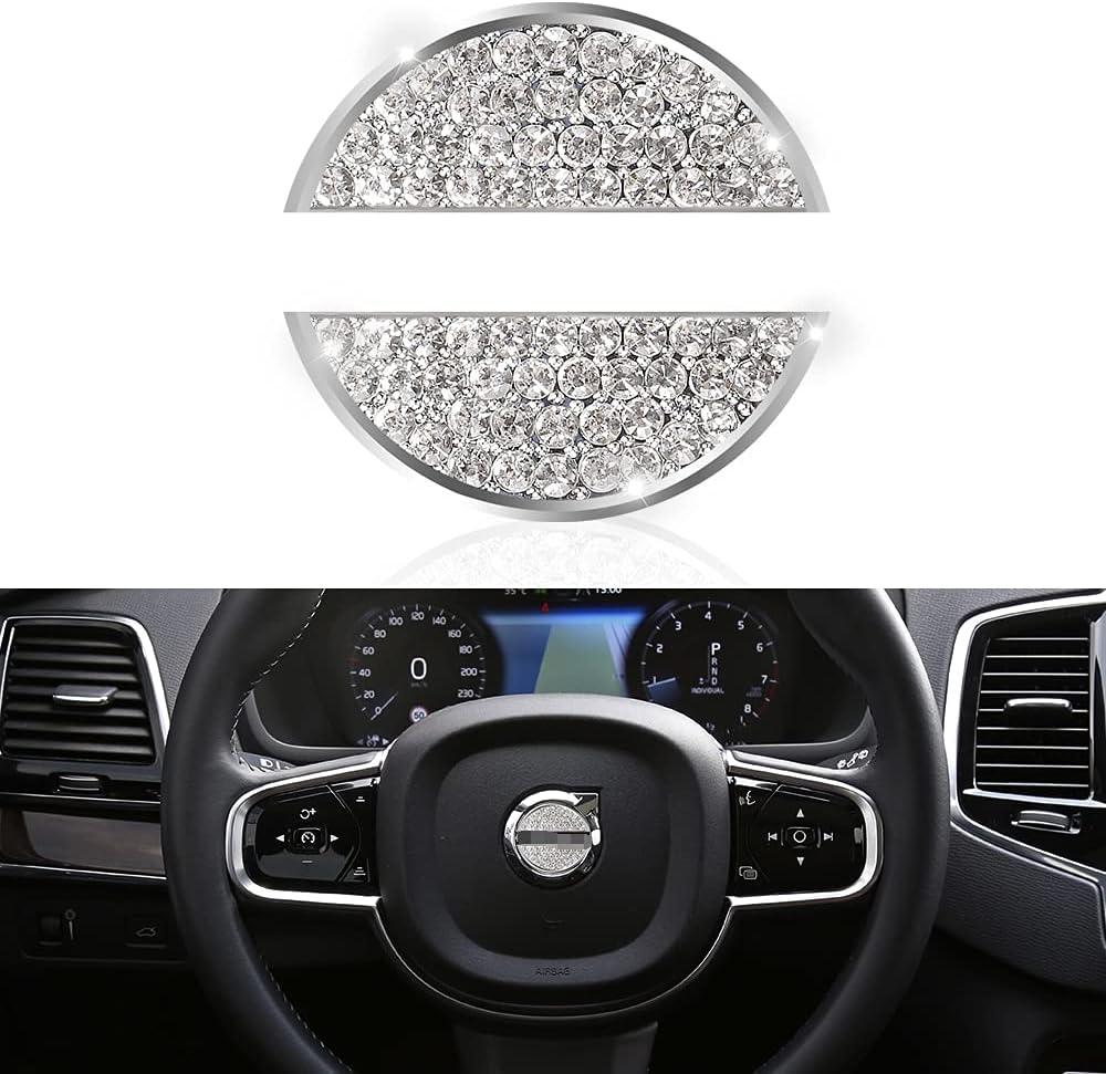 Bling Diamante Logotipo del Volante del Coche Etiqueta engomada Decorativa Apropiado Volvo S60 V60 XC60 S90 V90 XC90 XC40 V40 S80,DIY Tapa de Marcas de Volante Interno 49mm