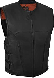 True Element Mens Swat Team Style Leather Motorcycle Vest with Side Size Adjustment (Black, XXXXX-Large)