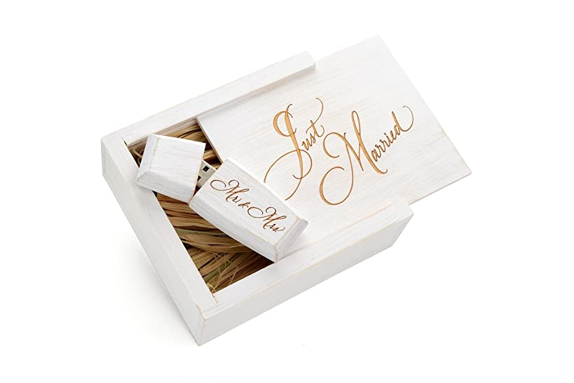 Maple White Wash 16GB USB 2.0 Flash Drive - Wildwood Body Design - Inserted into a Engraved Maple Wedding White Box with Raffia grass inside. Laser Engraved