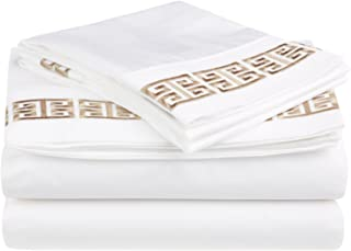 100% Cotton Greek Key Embroidery, 4-Piece Queen Kendell Bed Sheet Set, White/ Taupe