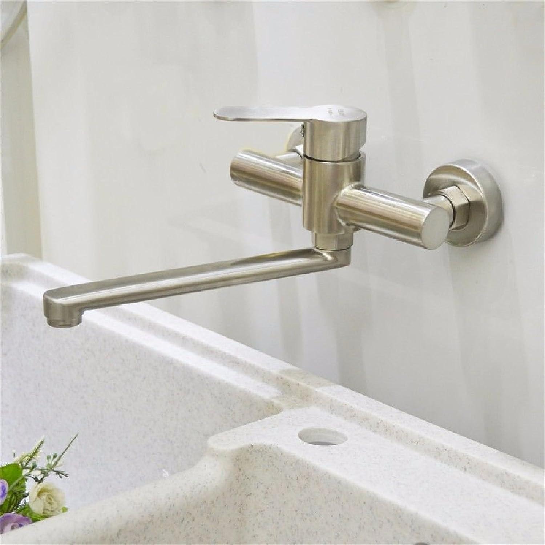 MNLMJ Moderne einfacheKupfer hei und kalt Spülbecken Wasserhhne Küchenarmatur In-Wand-Becken Wasserhahn hei und kalt 304 Schaukel Schaukel Küchenarmatur Geeignet für alle Badezimmer-Spülbecken