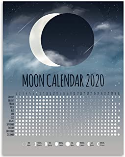 2020 Calendar - Phases of The Moon Chart - Great Home Calendar Under $15 for Moon Observers
