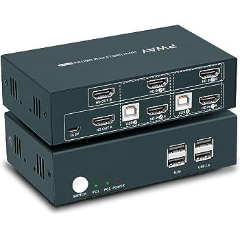 HDMI KVMスイッチデュアルモニター2ポート4k @ 30Hz、電源アダプターなし、USB 2.0ハブ、HDCP付き、通常のワイヤレスキーボードとマウス、およびホットキースイッチをサポート