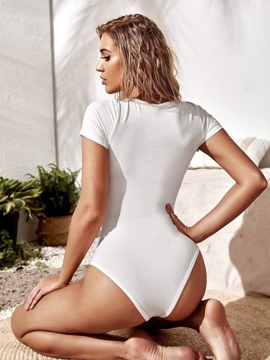 JYMBK Lace Jumpsuit Solid Scoop Neck Tee Bodysuit (Color : White, Size : M)