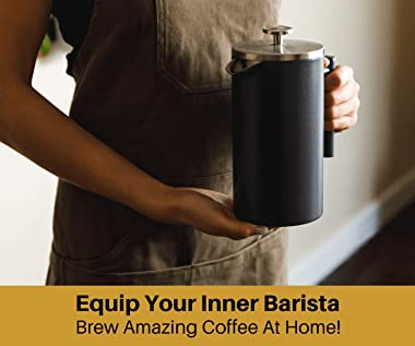 Barista Warrior Insulated Stainless Steel French Press with Thermometer - For Home Office Coffee Maker - Kitchen Appliances &