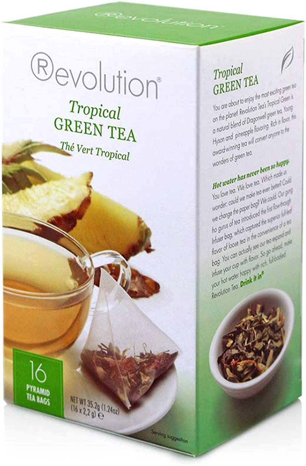 Revolution Tea Green Teabags, Tropical, 20 Count (Pack of 6)