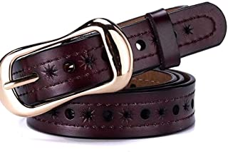 Casual Pants Belt Women's Jeans Leather Belt. (Color : Wine Red)