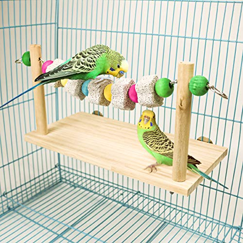 Parrot Wood Platform, Natural Wood Perch Stand Toys 2 Packs Parrot Chew Toys Lava Ledge Blocks Suitable for for small or medium Parrots,Parakeets,Finch,Mini Macao,Budgie,Lovebirds (style-1)