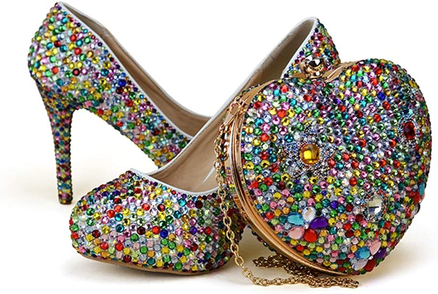 Rhinestone Mix color High Heel Party shoes with Heart Shape Bag Wedding Bridal shoes with Clutch Bag