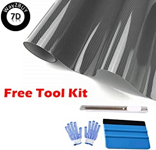 High Gloss 7D Premium Gray Carbon Fiber Vinyl Wrap for Automotive with Air Release Technology | Interior and Exterior + Free Toolkit (Gray, 12