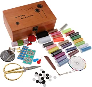 FITYLE 1 Set Sewing Kit with Square Wood Box Incldes: Threads Needles Tape Measure Scissor Thimble...