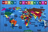 Play Time Blue Kids Reversible Area Rug World Continent Map Learning Carpet Game Room Design #7, (4' x 5'9') Feet