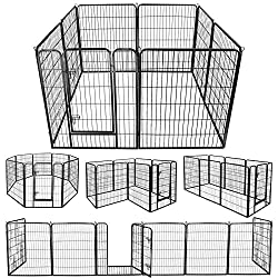 ZENY Foldable Metal Exercise Pen & Pet Playpen Puppy Cat Exercise Fence Barrier Playpen Kennel - 8 Panels