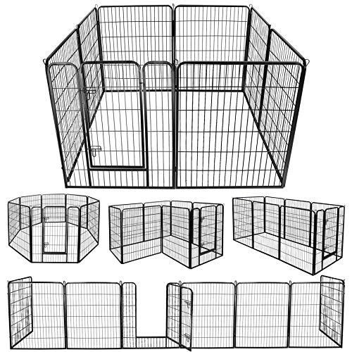 "ZENY Foldable Metal Exercise Pen & Pet Playpen Puppy Cat Exercise Fence Barrier Playpen Kennel - 8 Panels (31.5"" W x 39.4"" H)"