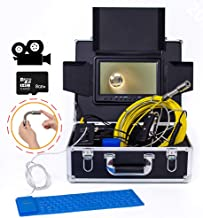 DCZ Pipe Inspection Video Camera, IP68 Waterproof Drain Pipe Sewer Inspection Camera System with 7-inch DVR Record Display...