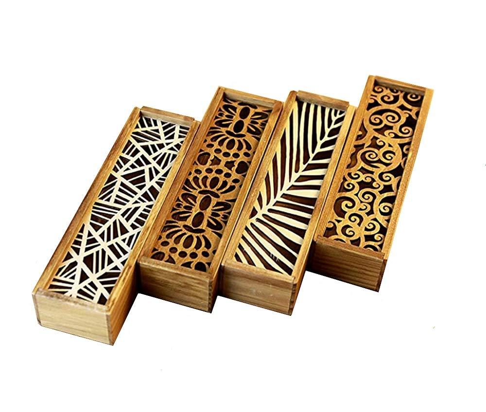 DMtse - Estuche de madera tallada hueca para lápices, estuche para estudiantes, escuela, oficina, caja de regalo con diseño especial: Amazon.es: Oficina y papelería