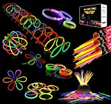 Sunlitec 300 Glowsticks, (656 Pcs Total) Light up Toys Glow Sticks Bracelet Necklace Light-Up Mixed Colors Party Favors Supplies with 356 Connectors (Total 656 PCs)