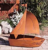 Dekostüberl Rostalgie Edelrost Segelboot 3D 83x71cm, inkl. Herz 8x6cm Gartendekoration Schiff