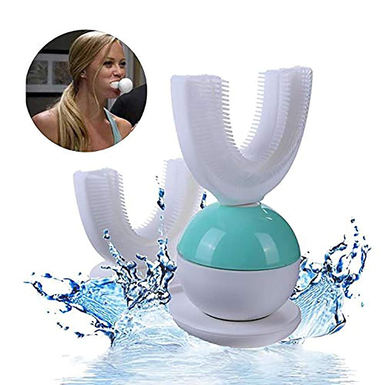 小切手無視小石360°全自動 U 型口クリーン超音波電動歯ブラシ、ホワイトニング360電動ブラッシング超音波歯ブラシ怠惰な人々のために設計