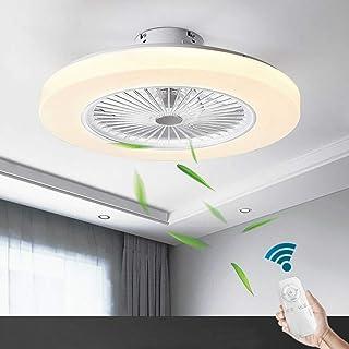 Aboyia LED ventilador luz de techo dormitorio control remoto 36W regulable 58CM + silencioso 2880 lúmenes moderno con Smart Invisible