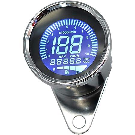Kkmoon 12v Motorrad Tacho Lcd Digital Drehzahlmesser Kilometerzähler Tachometer 7 Farben 0 10000 Rpm 0 199 Km H Auto