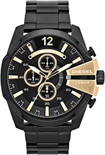 Diesel Men's Mega Chief Quartz Stainless Steel Chronograph Watch, Color: Black (Model: DZ4338)