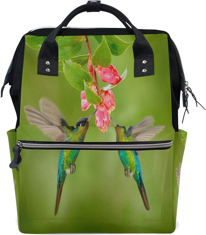 WOZO Two Hummingbird Flower Floral MultiFunction Diaper Bags Backpack Travel Bag