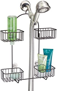 mDesign Metal Hanging Bath and Shower Caddy Organizer for Hand Held Shower Head and Hose - Storage for Shampoo, Conditioner, Hand Soap - 4 Shelf Format - Bronze