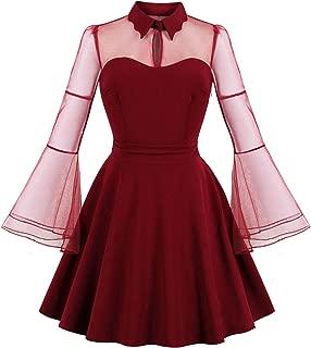 Womens Vintage See-Through Rockabilly Cocktail Dress Patchwork Mesh Long Sleeve Knee Swing Dress TZ16